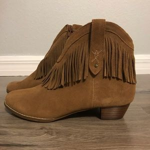 Brown suade fringe round toe cowgirl boots sz 8.5